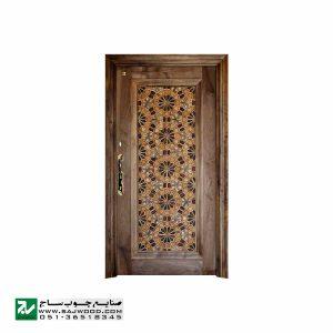 درب چوبی ورودی آپارتمان و ساختمان ، هتل سنتی صنایع چوب ساج مدل T12A