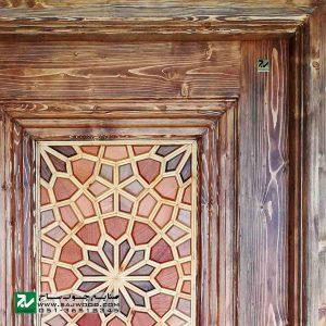 درب سنتی چوبی ورودی هتل ، آپارتمان و ساختمان صنایع چوب ساج مدل T12B
