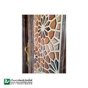 درب چوبی سنتی ورودی هتل ، آپارتمان و ساختمان صنایع چوب ساج مدل T12B