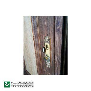 درب چوبی ورودی هتل ، آپارتمان و ساختمان سنتی صنایع چوب ساج مدل T12B