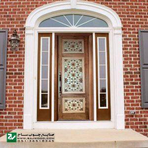 درب سنتی ورودی نمازخانه ،مسجد،اماکن متبرکه صنایع چوب ساج مدل TCG10