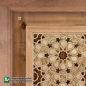 درب چوبی سنتی ورودی نمازخانه ،مسجد،اماکن متبرکه صنایع چوب ساج مدل TCG10