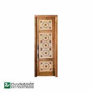 درب چوبی ورودی نمازخانه ،مسجد،امامزاده سنتی صنایع چوب ساج مدل TCG10