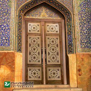 درب چوبی ورودی نمازخانه ،مسجد،اماکن مذهبی صنایع چوب ساج مدل TCG10
