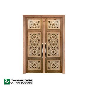 درب چوبی ورودی نمازخانه ،مسجد،اماکن متبرکه صنایع چوب ساج مدل TCG10