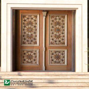 درب چوبی ورودی امامزاده ، مسجد ، نمازخانه صنایع چوب ساج مدل TT10