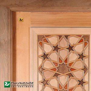 درب سنتی چوبی ورودی امامزاده ، مسجد ، نمازخانه صنایع چوب ساج مدل TT10