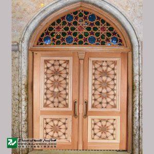 درب سنتی چوبی ورودی امامزاده ، مسجد ، اماکن مذهبی صنایع چوب ساج مدل TT10