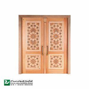 درب چوبی ورودی امامزاده ، مسجد ، نمازخانه سنتی صنایع چوب ساج مدل TT10