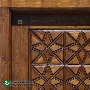 درب چوبی سنتی ورودی ساختمان و آپارتمان ،هتل صنایع چوب ساج مدل M4