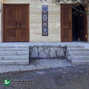 درب سنتی چوبی ورودی ساختمان و آپارتمان ،هتل صنایع چوب ساج مدل M4