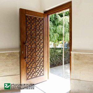 درب سنتی ورودی ساختمان و آپارتمان ،هتل چوبی صنایع چوب ساج مدل M4