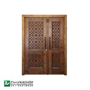 درب چوبی ورودی ساختمان و آپارتمان ،هتل سنتی صنایع چوب ساج مدل M4