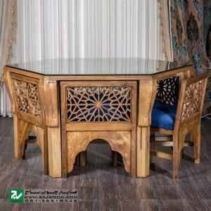میز و صندلی غذا خوری چوبی صنایع چوب ساج مدل 328