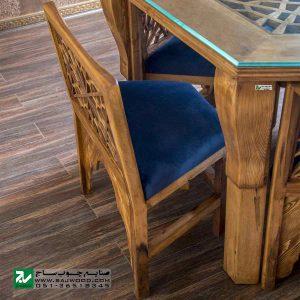 میز و صندلی غذا خوری چوبی سنتی صنایع چوب ساج مدل 328