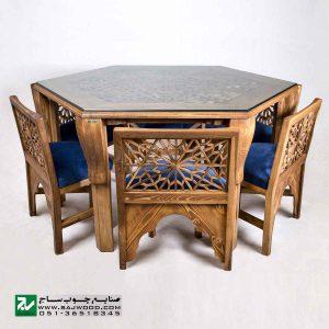 میز و صندلی غذا خوری سنتی صنایع چوب ساج مدل 328