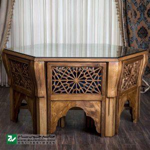 میز و صندلی غذا خوری تمام چوب صنایع چوب ساج مدل 328