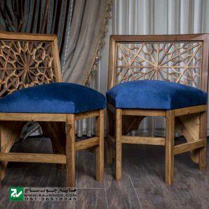 میز و صندلی غذا خوری تمام چوب کلاسیک صنایع چوب ساج مدل 328