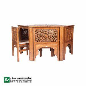 میز و صندلی ناهار خوری چوبی صنایع چوب ساج مدل 320