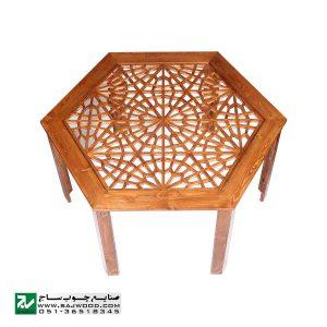میز و صندلی ناهار خوری چوبی سنتی صنایع چوب ساج مدل 320