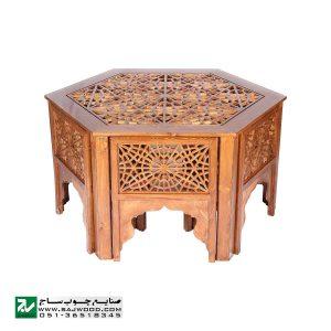 میز و صندلی ناهار خوری سنتی چوبی صنایع چوب ساج مدل 320