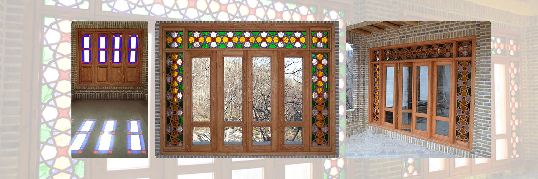 پنجره ارسی شیشه رنگی چوبی سنتی گره چینی مشبک
