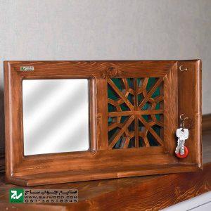 شلف دیواری و جا کلیدی چوبی صنایع چوب ساج کد 622