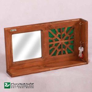 شلف دیواری و جا کلیدی تمام چوب صنایع چوب ساج کد 622