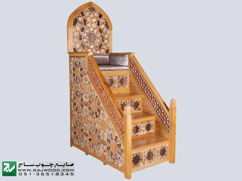 ساخت انواع منبر چوبی مسجد و اماکن متبرکه با هنر گره چینی،دست ساز صنایع چوب ساج