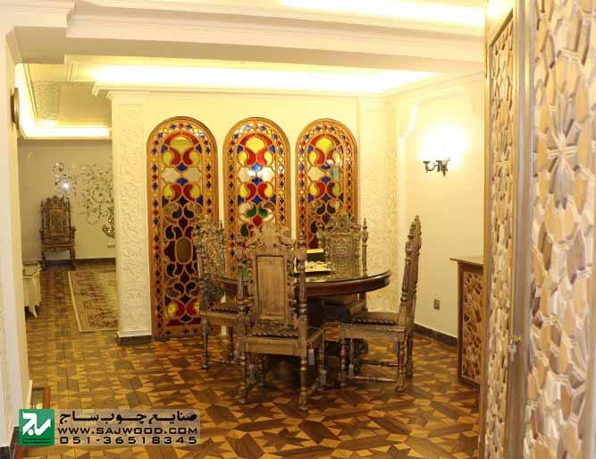 ساخت و نصب پارتیشن قواره بری با شیشه های رنگی در هتل بین المللی قصر طلایی مشهد