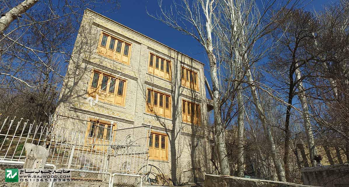 درب و پنجره سنتی چوبی شیشه رنگی ارسی گره چینی دستساز پروژه طرقبه خراسان