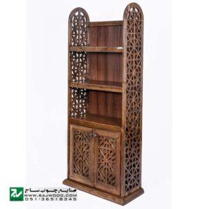 کتابخانه ، قفسه کتاب چوبی ، ویترین گنجه دردار و دکور صنایع چوب ساج مدل 633