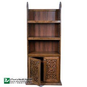 کتابخانه چوبی گنجه دار، قفسه کتاب سنتی ، ویترین دکوری صنایع چوب ساج مدل 633