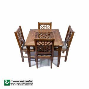 میز و صندلی غذا خوری سنتی چهار نفره چوبی صنایع چوب ساج مدل 325