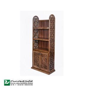 کتابخانه ، قفسه چوبی کتاب ، ویترین ، گنجه دردار و دکور صنایع چوب ساج مدل 633انواع کتابخانه تمام چوب گره چینی مشبک